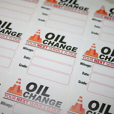 1000 Generic Oil Change Reminder Service Stickers White Low Tack Removable Vinyl