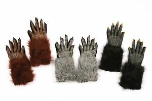 Werewolf Gloves Hands Hairy Furry Adult for Halloween Costume Accessory