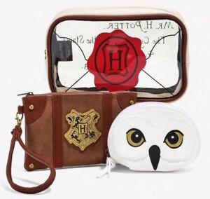 3-pc Harry Potter HOGWARTS LETTER COSMETIC BAG SET Makeup Travel Cases