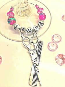 PERSONALISED HAIRDRESSER WINE GLASS CHARM :STYLIST SCISSORS LOCKDOWN GIFT IDEA