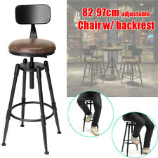 Chair Industrial Rustic Bar Stool Swivel Vintage Cafe Counter Backrest Kitchen