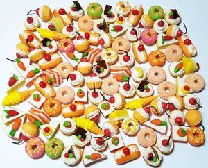 100 Dollhouse Miniature Mixed Cakes & Donuts Set *Doll Mini Sweet Food Bakery s7