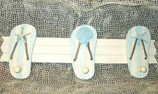 WOOD SANDALS & 3 HOOKS Wall Hanging Ocean Beach Starfish Nautical Towel Clothes