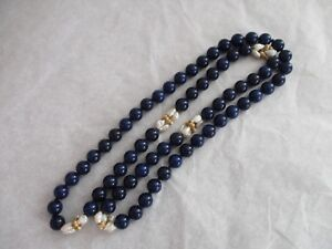 """32"""" Lapis Bead Necklace, 10K Yellow Gold Beads, Freshwater Baroque Pearls,"""