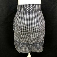 VTG Half Waist Apron Retro Farmhouse GINGHAM Blue White Pleated Pocket BEAUTY