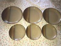 """6 Sango VISTA GOLD 4864 Brown Stoneware Dinner Plates 10 7/8"""" Salad Lunch 7 3/4"""""""