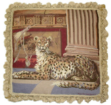 "20"" x 20"" Handmade Wool Needlepoint Pompeii Cheetah Pillow with Tassels"