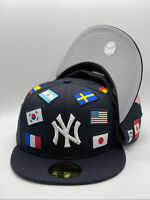 New York Yankees Black New Era All Over Flag 59FIFTY Fitted Hat Gray UV