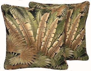 "2 18"" Tommy Bahama Bahamian Breeze Coal Outdoor Fabric Decorative Throw Pillows"