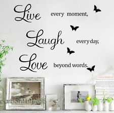 LIVE LAUGH LOVE Wall Stickers Black Butterfly Vinyl Decal Home Art Quote Sticker