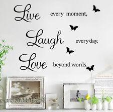 LIVE Laugh Love Adesivi Murali Farfalla Nera in Vinile Decalcomania Casa Arte Citazione Adesivo