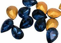 #891   8X5MM GLASS DARK BLUE PEAR SHAPE RHINESTONES  12PC