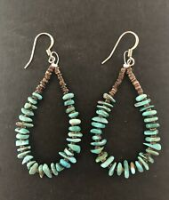 Santo Domingo Turquoise  Sterling Earrings - Jeanette Calabaza