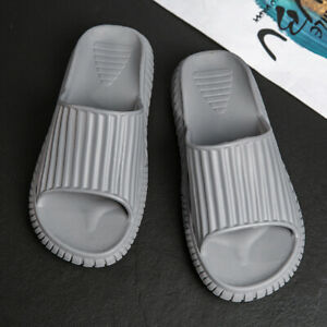 Men Home Non-Slip Comfy Platform Shoe Slipper Sandal Slip On Shoes Fashion Black