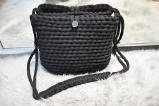 Crochet Macrame Crossbody Bag Handmade Black Bohoo Style