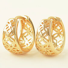 Classic Yellow Gold Plated Openwork small Hoop Earrings Womens gilrs childrens