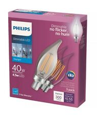 3 Pack Philips BA11 Candelabra Dimmable LED Decorative Light Bulb