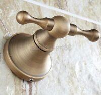 Antique Brass Bathroom Towel Coat Hooks Dual Robe Hook Hanger Wall Mount fba089