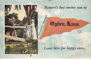 H70/ Ogden Kansas Postcard c1925 Pennant Nature's Best Happy Days 4