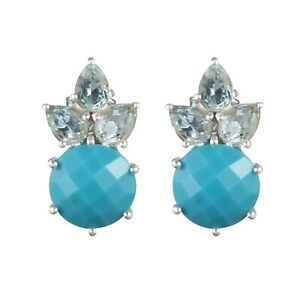Natural Blue Topaz, Turquoise Gemstone 925 Silver Prong Set Stud Earrings
