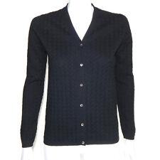 NEIMAN MARCUS CASHMERE Exquisite Lattice Cable Knit Cardigan Black Small -INV808