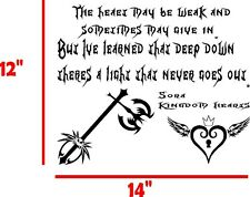 KINGDOM HEARTS QUOTE AND KEY VINYL DECAL GRAPHIC CAR TRUCK