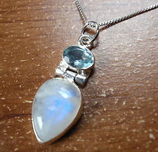 Moonstone Faceted Blue Topaz Necklace 925 Sterling Silver Corona Sun Jewelry