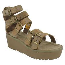 Calzado de mujer sandalias con plataforma en color principal marrón
