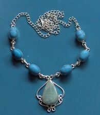 """AMAZONITE TURQUOISE LONG 22"""" SOLID 925 SILVER NECKLACE, VERY HIP LOOK"""