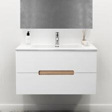 Mobiletto bagno bianco 80 cm con lavabo e cassetti design sospeso arredo moderno