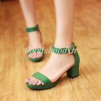 Women Ankle Strap Sandal Open Toe Platform Shoes High Heels Pump Green Plus Size