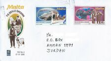 MALTA 2000 COVER TO JORDAN AMMAN TWO STAMPS SUPER NICE