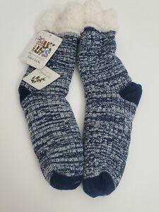 MUK LUKS Cabin Socks Navy Blue Stripe Jojoba Infused 1 Pair L XL 9-11 Fleece