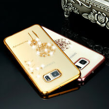 Luxury Diamond Flower Ultra-thin Clear Soft Back Case Cover for Samsung Galaxy