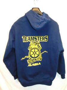 Teamsters Alaska Local 959 Size M Blue Yellow Hoodie Sweatshirt King Louie USA