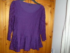 Cute purple lace lined peplum top, 3/4 length sheer sleeves, M&CO. size 14