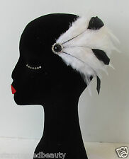 Black and White Real Feather Fascinator Hair Clip Vintage Headpiece 1920s N74