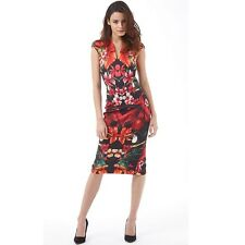 Ted Baker Womens Bismii Tropical Toucan Cap Sleeve Dress Black Size 1 UK 8