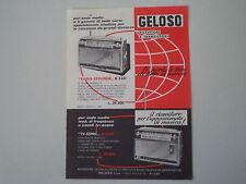 advertising Pubblicità 1964 GELOSO RADIO EXPLORER G 3331/TV SONIC G 3330