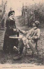 Carte Postale ancienne Couple d'Auvergnats Aurillac ( Cantal )