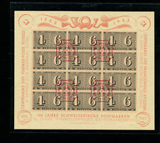 Switzerland Stamp on Stamp 1943 Scott B130 Sheet Used with FDC Cancel in Red