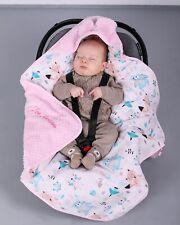 BlueberryShop cotton fleece car seat  Blanket  Baby, pink animals