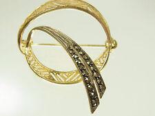Schöne Art-Deco  Markasit Brosche 835 Silber vergoldet filligran  um 1930