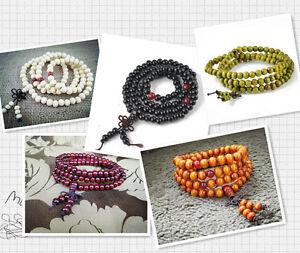 Tibetan 6mm and 8mm 108 Round Sandalwood Buddhist Prayer Beads Mala Necklace