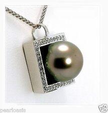 10.66MM Gray Tahitian Pearl Pendant Slide w/0.19 Ct. Diamonds, 18K Gold, NEW