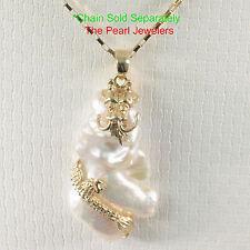 14k Solid Yellow Gold Dragon Cloud Design, White Baroque Biwa Pearl Pendant TPJ