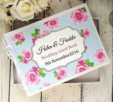 PERSONALISED WEDDING GUEST BOOK IN BOX ~ PINK ROSES SHABBY CHIC BRIDAL DECOR