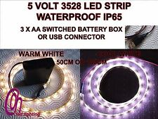 5V LED STRIP 3528 IP65 W/PROOF EITHER 3X AA BATTERY BOX OR USB CONNECTOR C/W W/W