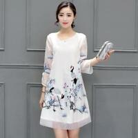 Chinese Women Retro Tulle Crane Print Qipao New Cheongsam Embroidery Loose Dress