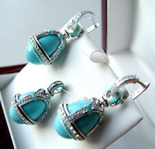 OUTSTANDING PENDANT & EARRINGS SET STERLING SILVER GENUINE TURQUOISE